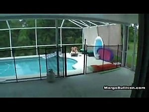 son rubs n fucks mom by pool