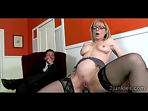 Gorgeous blonde mommy mounts sons boss..