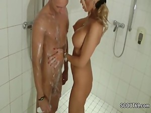 Forbidden blonde MILF jerks off step-son..