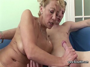 German Mom fucking her Step-son when Dad..