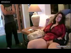 Smoking Chubby MILF Lets Son Have Fun