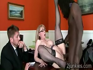 Blonde MILF gets fucked by her sons..