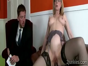 Mature secretary with hot body helps son..