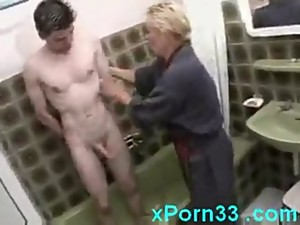 Mom Washes Son In The Shower Then Fucks..