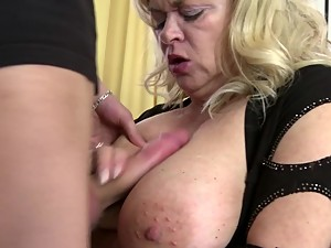 Busty natural mother fucked by young not..