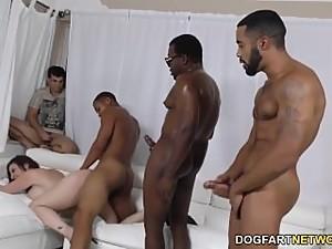 Sara Jay gets ganbanged by black dudes..