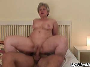 Nasty granny gives head and rides her bf..