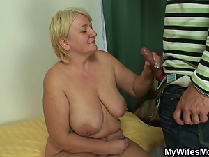 Granny jumps on son in law's cock
