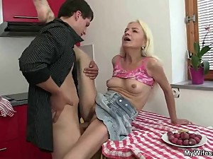 Guy fucks his mother in law right at the..