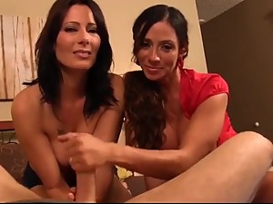 POV step mom and aunt giving son handjob