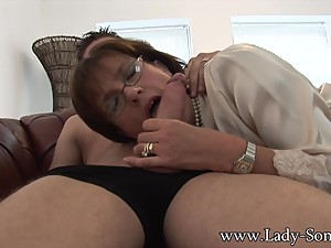 Lady Sonia gives young worker blowjob..