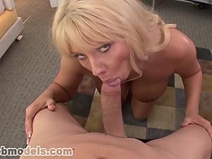 MILF Cougar Karen Fisher Sucks Huge Cock..