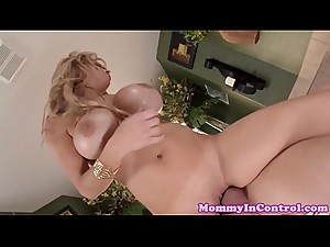Massive tits milf joining stepson in trio